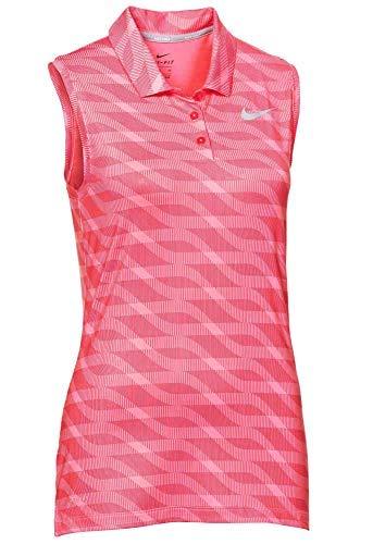 NIKE Women's Dri-Fit Sleeveless Golf Polo-Hyper Pink-Medium