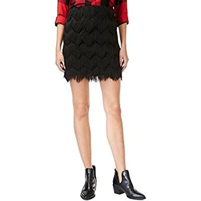 Maison Jules Womens Fringed Mini A-Line Skirt