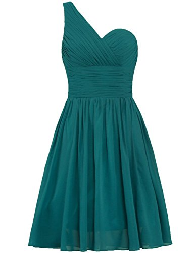 Wedding Bridesmaid Cdress Dresses Prom Gowns Peacock Party Short Shoulder Chiffon One UxOqIw6n0O