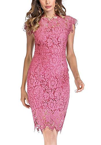 (Women's Sleeveless Floral Lace Slim Evening Cocktail Mini Dress for Party DM261 (Pink, M))