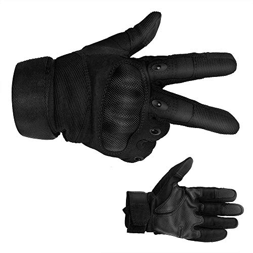 Wbeng Tactical Outdoor Gloves, Hard Knuckle Touch Screen Full Finger Motorcycle Cycling Gloves (L)