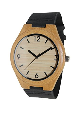 Woody Watch Natural Bamboo Wooden Wristwatch Black Genuine Leather Strap Japanese Quartz