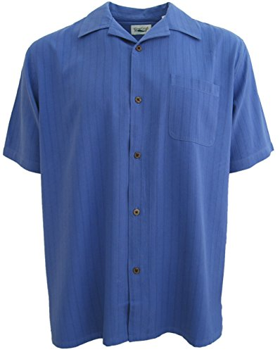 Good-Life-Mens-Silk-Camp-Shirt-Brushed-Amparo-Blue-Hawaiian-Textured-Casual