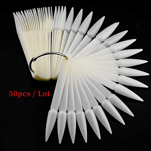 50pcs Stiletto False Nail Art Fan Wheel Practice Board Tip Sticks for Dipping Powder Colors UV Gel Nail Polish Display Chart, - Powder Tip