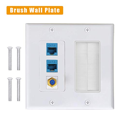 (Brush Wall Plate 2 Gang, VITEK CAT6 Wall Plate RJ45 Ethernet + Coaxial Cable TV F Type Keystone Face Plate. ... )