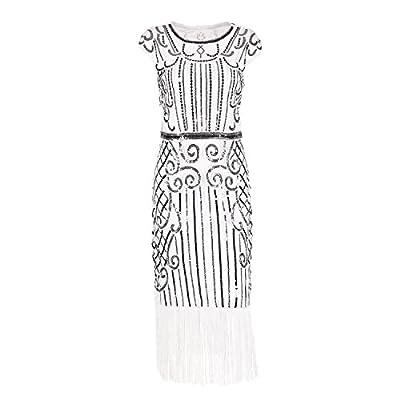 Evening Sequin Dress -1920s Vintage Inspired Beaded Embellished Fringe Long Gatsby Flapper Dress