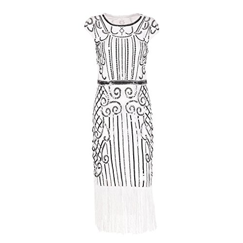 IMAGICSUN Mujer Gatsby Vestido Años 20 Estilo Vestido Cóctel Fiesta Vestir Vestido de Noche Blanco
