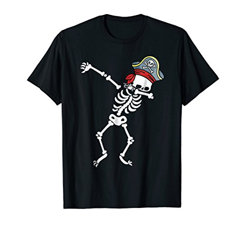 Mens Pirate Tee (Mens Dabbing Skeleton With Pirate's Hat T-shirt Small Black)