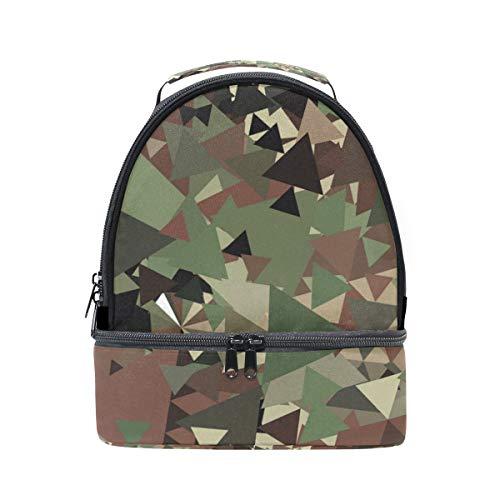 Alinlo Motif camouflage Vert Triangle Boîte à lunch Sac isotherme Cooler Tote avec bandoulière réglable pour Pincnic à l'école