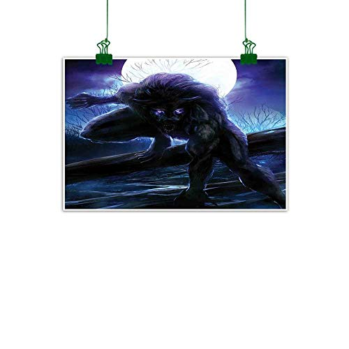 J Chief Sky Fantasy World Wall Art Decor Poster Painting Surreal Werewolf with Electric Eyes in Full Moon Transformation Folkloric Modern Art W 24