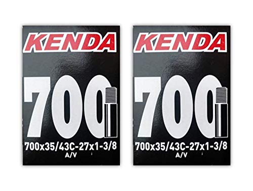 Kenda 700x35-43c (27x1-3/8) Schrader Valve Bike Tube Bundle - 2 Pack w/Decal/Sticker