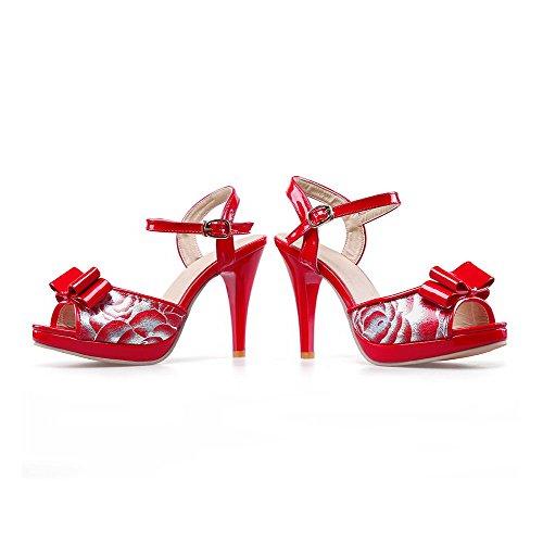AllhqFashion Damen Fischkopf Schuhe Hoher Absatz Schnalle Gemischte Farbe Sandalen mit Hohem Absatz Rot