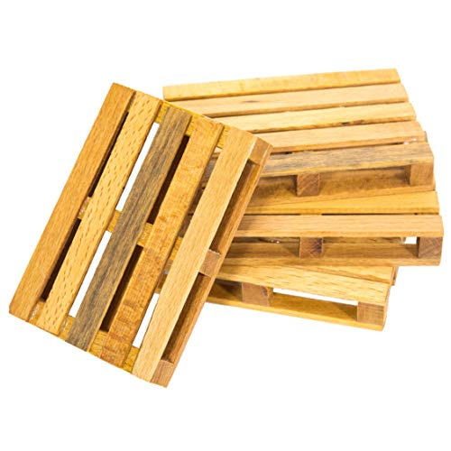 Vintage Old Style Wooden Pallet Cup Glass Coaster Stand | Decorative Stylish Kitchen Accessory | for Home, Birthday, Office Party | Set of -