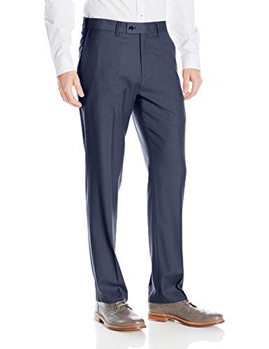 Wool Washable Fabric (Louis Raphael Men's Rosso Washable Wool Blend Flat Front Comfort Dress Pant, Dusk Blue, 36W x 32L)