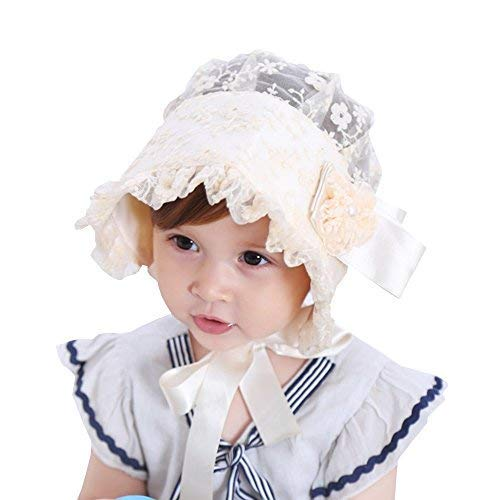 (Baby Girl Toddlers Breathable Lacy Bonnet Eyelet Cotton Adjustable Sun Protection Hat (Yellow))