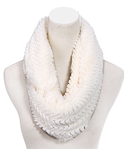 Best Seller Offwhite White Herringbone Fake Fur Infinity Scarf Scarves Designer Cute Warm Cozy Wide Winter Unique Beauty Healthy Last Minute Stocking Stuffer Gift Idea for Sale Grandma Mother In Law