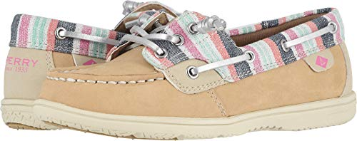 Leather Top Sider Tie Sperry (Sperry Top-Sider Shoresider Boat Shoe Big Kid 4.5 Sparkle Stripe)