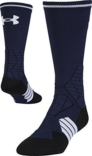 Under Armour Mens Football Crew Single Pair Socks, Midnight Navy/White, X-Large
