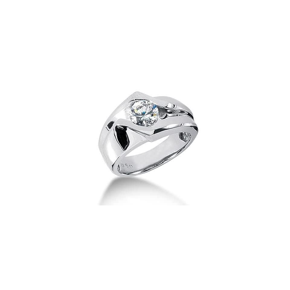 Men s 14K Gold Diamond Ring 1 Round Stone 1.25 ctw 10714 MDR1122   Size 7
