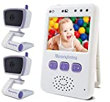 MoonyBaby Handheld Compact Video Baby Monitor, 2 Cameras Pack, EasyCarry, Pocket-Sized Full Color Screen, AUTO Night Vision, Talk Back, Zoom-in, Long Range and Big Battery For Sale