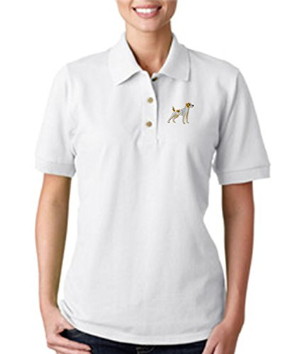 Jack Russell Terrier Embroidery (Jack Russell Terrier Dogs Embroidery Cotton Women Short Sleeve Polo Shirt White 2X-Large)