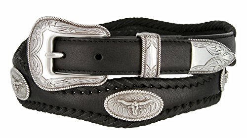 Mens Open Range Steer Western Cowboy Belt with Matching Conchos and Oil Tanned Leather Strap(BLK,40)