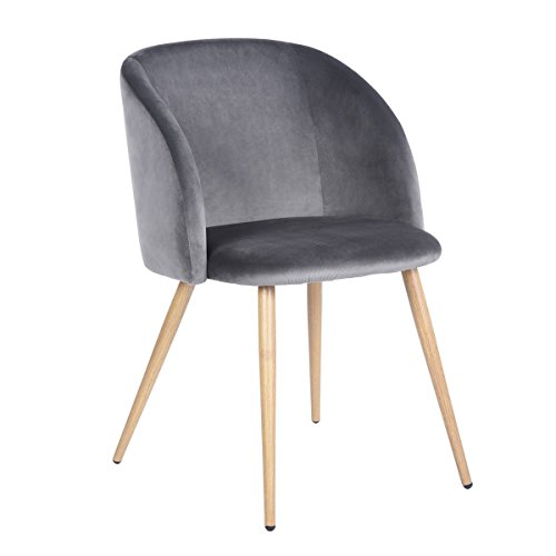 Modern Velvet Accent Dining Room Armchair Vanity Chair Set of 2-Upholstered Leisure Club Chairs with Solid Steel Legs Velvet Cushion for Dining Room Bedroom Kitchen,Grey