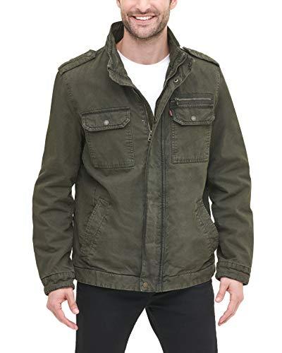 Levi's Men's Washed Cotton Two Pocket Military Jacket, Olive, XX-Large (Jacket Men Military Slim)
