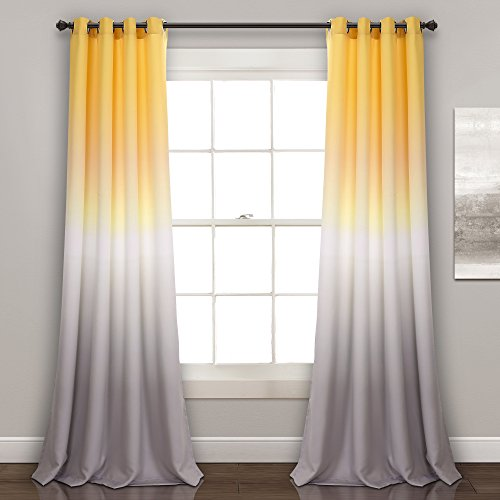 "Lush Decor Ombre Fiesta Curtains Room Darkening Window Panel Set for Living, Dining, Bedroom (Pair) 84"" x 52"" Yellow and Gray -"