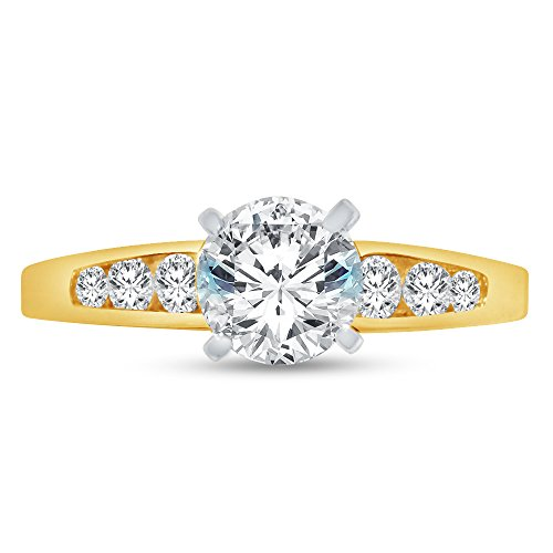 (Size - 6.5 - Jewel Tie 14K Yellow Gold Round Graduated Solitaire Engagement Ring Cubic Zirconia CZ (1.50cttw, 1.0ct. Center))