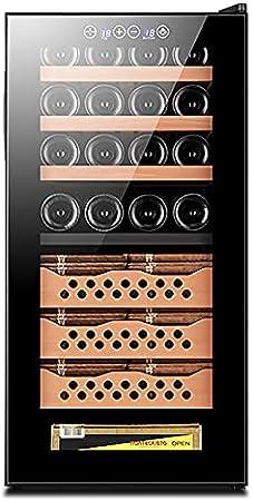 VIY 16 Botellas Nevera vinos vinoteca Capacidad de 78L Diseño Puerta Cristal Marco de Acero Inoxidable y estantes de Madera Panel táctil y Pantalla LED