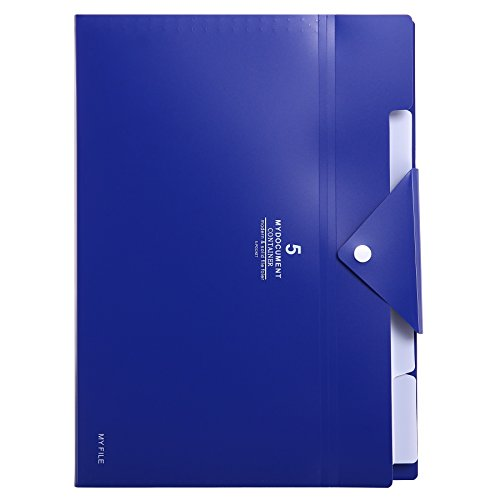 Skydue PP Expanding File Folder Accordion Documents Letters Organizer, 5 Pockets, A4 Size (Navy Blue)