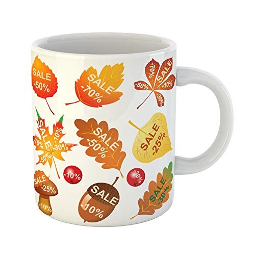 Emvency Coffee Tea Mug Gift 11 Ounces Funny Ceramic Big Super Autumn Sale for Discounts Thanksgiving Colorful Leaves Berries Gifts For Family Friends Coworkers Boss Mug