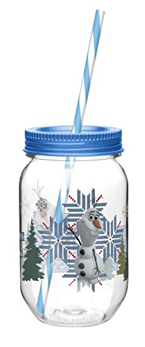 Zak! Designs Tritan Mason Jar Tumbler with Screw-on Lid and Straw featuring Olaf from Frozen, Break-resistant and BPA-free Plastic, 19 oz.