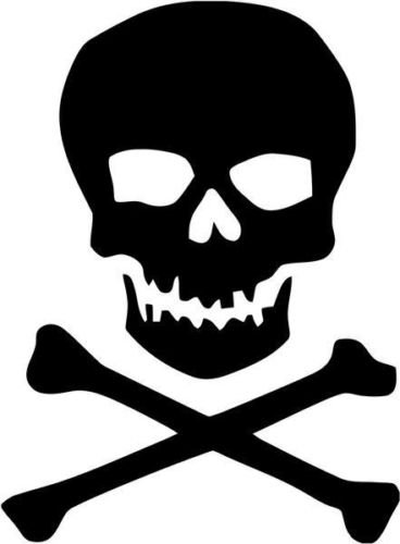 Jolly Roger Pirate Skull Crossbones Graphic Car Truck Window Decor Decal Sticker - Die cut vinyl decal for windows, cars, trucks, tool boxes, laptops, MacBook - virtually any hard, smooth surface