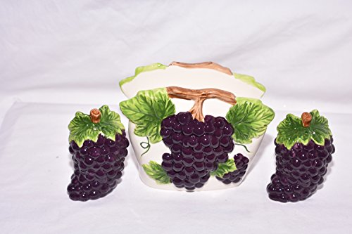 New 3pc Tuscan Purple Grape Design 3D Napkin Holder and Salt & Pepper Shakers grape, apple, cherry, peach Kitchen