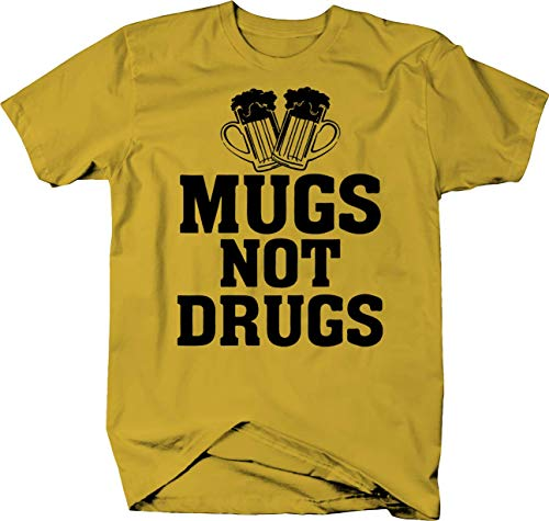 Mugs Not Drugs Beer Steins Bar College Color Tshirt - 2XL Lemon Yellow