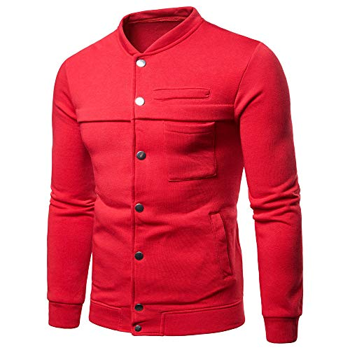 Toimothcn Mens Pure Color Button Sweatshirt Pullover Tops Long Sleeve Slim Fit Sport Coat (Red,M)