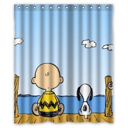 Aloundi Shower Curtain, Shop Snoopy Charlie Brown Custom (Curtain Shop Shower)