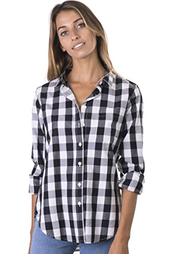 CAMIXA Women's Gingham Shirt Checkered Casual Long Sleeve Button Down Plaid Top XXL Major Black ()