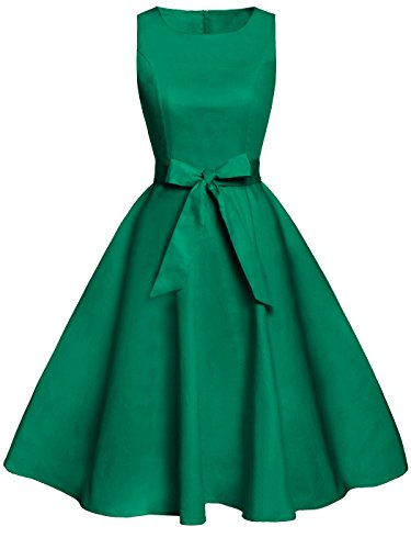 FAIRY COUPLE 50s Vintage Retro Floral Cocktail Swing Party Dress with Bow DRT017(L, Green) ()