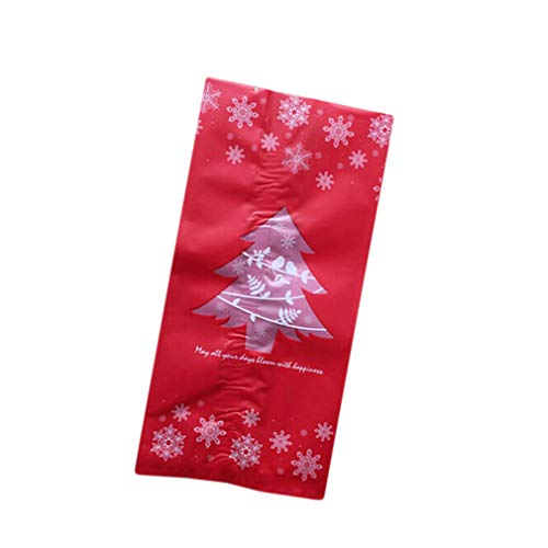 DearAnswer Christmas Tree Snowflake Candy Bags Cookie Biscuit Sweet Food Bags Plastic Frosted Candy Bag Gift Packaging Bags for Birthday Wedding Party,Red ()