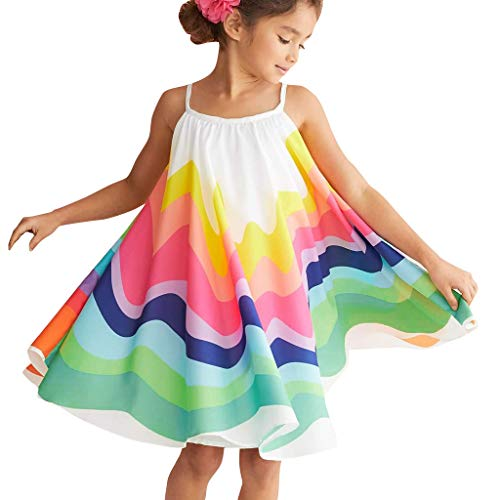 - Toddler Baby Girls' Sleeveless Sundress Summer Off Shoulder Casual Rainbow Print Straps Pleated Maxi Dress 12M-5T (12-18 Months, Multicolour3)