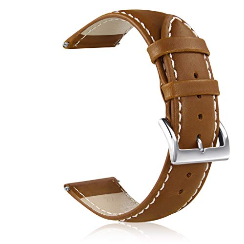 GinCoband Leather Watch Bands,Choice of Width 18mm 20mm 22mm,Genuine Leather Watch Replacementband Strap for Men Women (Camel Brown, 20mm) ()