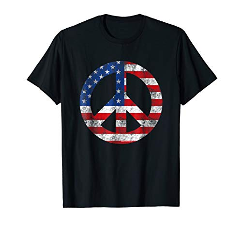 - Vintage Peace Sign Symbol Patriotic 4th of July T-Shirt