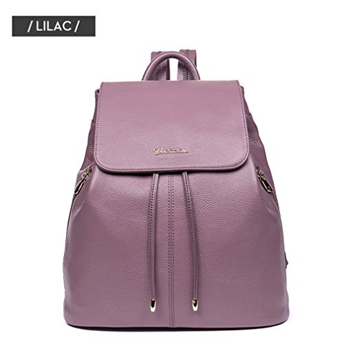 Lilac Backpack Fashion For Women Cow Leather Travel Backpack School Teenagers Bags Drawstring Female Girls Women Ugaqwg