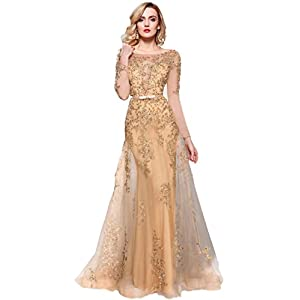 Meier Women's Illusion Long Sleeve Embroidery Prom Formal Dress