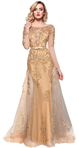 Meier Women's Illusion Long Sleeve Embroidery Tulle Gown Gold Size 6