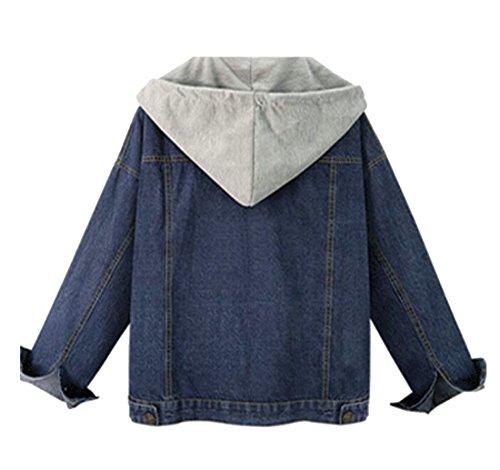 Lana Addensare Oggi Cappuccio Pulsante uk Blu Di Jacker Moda Donne Caldo Con Jeans Agnello Alla Di Cappotto IgfT8wg