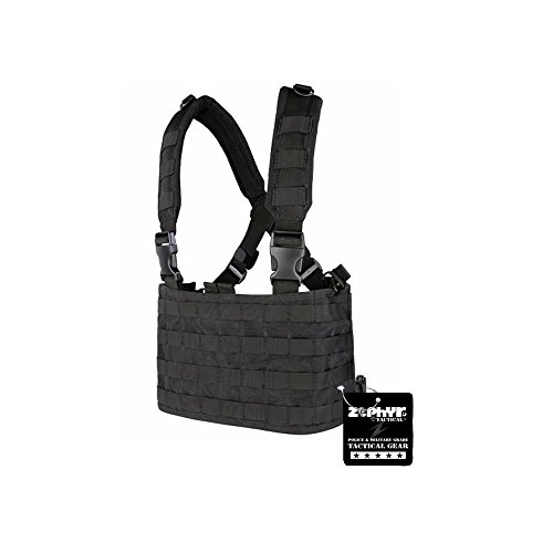 Zephyr Tactical Ops MOLLE Chest Rig with Adjustable Padded Shoulder Straps - Black